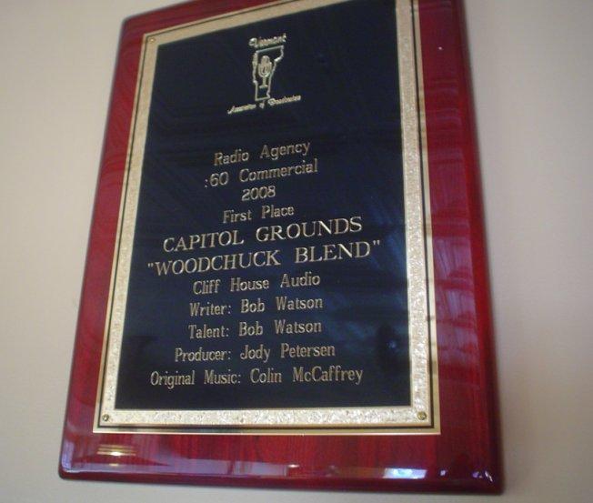 Woodchuck Blend Award plaque